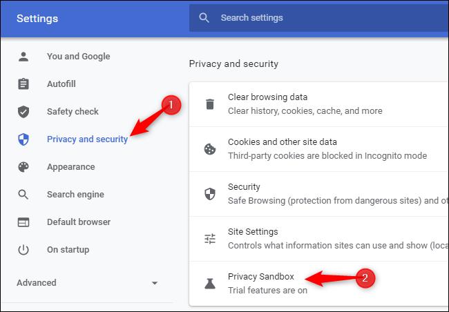 """Haga clic en """"Privacidad y seguridad"""" y haga clic en """"Zona de pruebas de privacidad""""."""