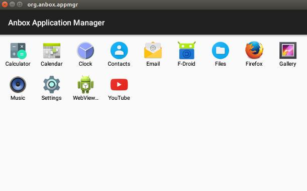 Anbox con algunas aplicaciones