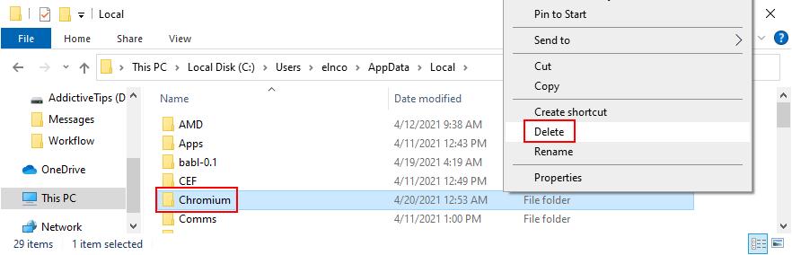 El Explorador de Windows muestra cómo eliminar la caché de Chromium