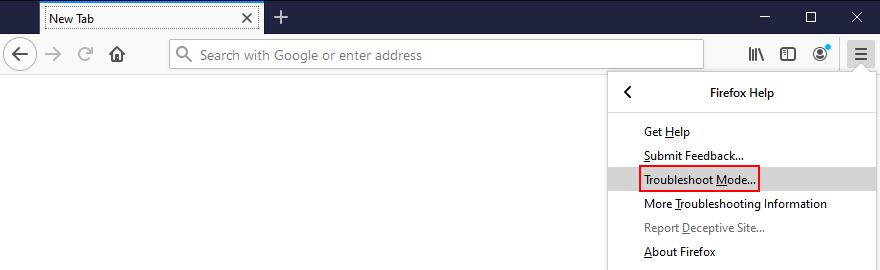 Mozilla Firefox muestra cómo acceder al modo de solución de problemas desde el menú