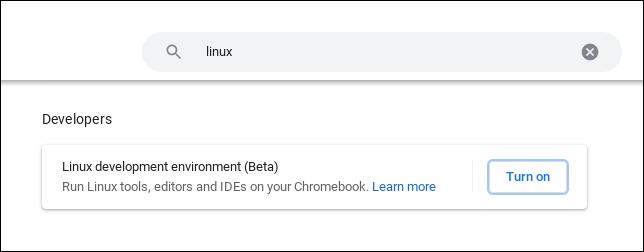 """Página de configuración de ChromeOS con """"Linux"""" en la barra de búsqueda"""