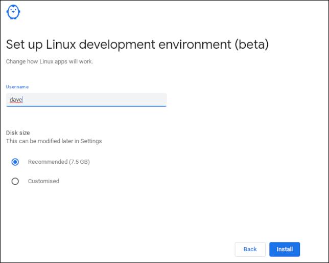 Establecer un nombre de usuario en la instalación de ChromeOS Linux
