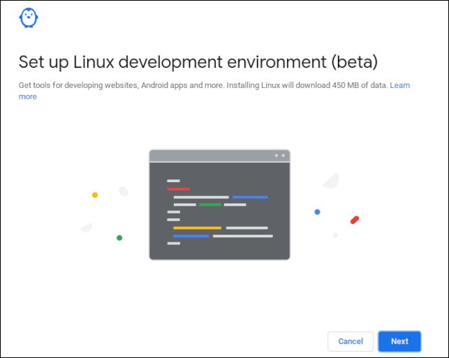 Cuadro de diálogo de confirmación para la instalación de ChromeOS Linux