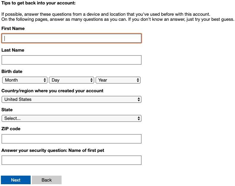 Segundo paso de recuperación de Microsoft Outlook