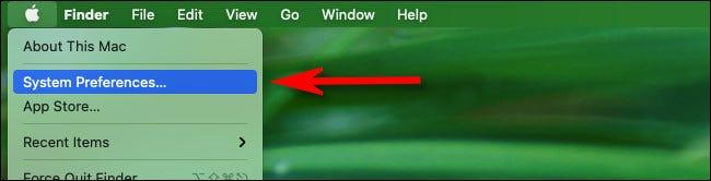 """Haga clic en el menú de Apple en la esquina superior izquierda de la pantalla y seleccione """"Preferencias del sistema""""."""