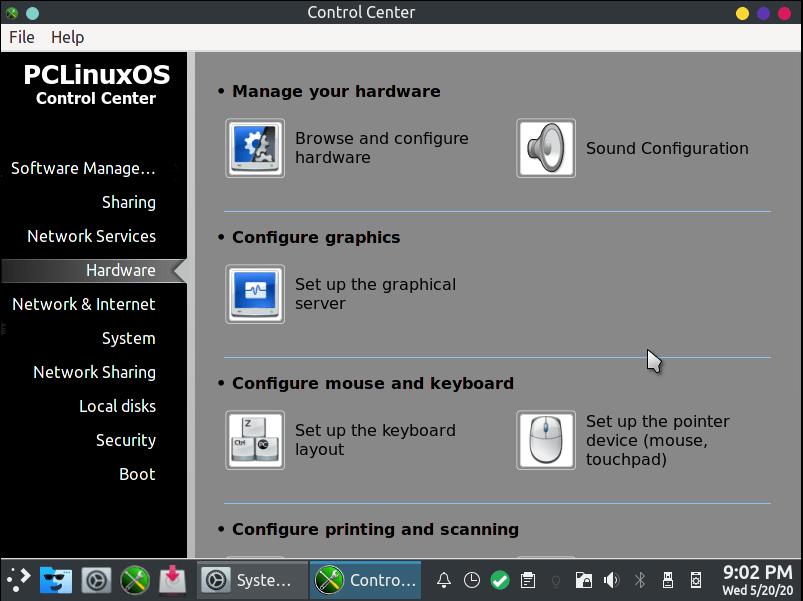 Configuración del sistema Pclinuxos