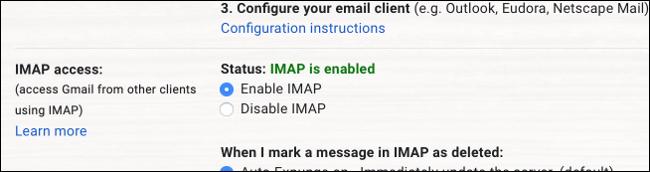 Gmail IMAP habilitado