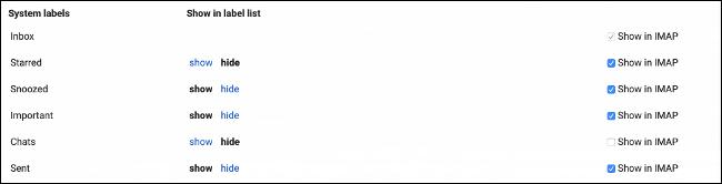 Mostrar etiquetas de Gmail en IMAP