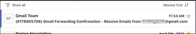 Correo electrónico de confirmación de reenvío de Gmail
