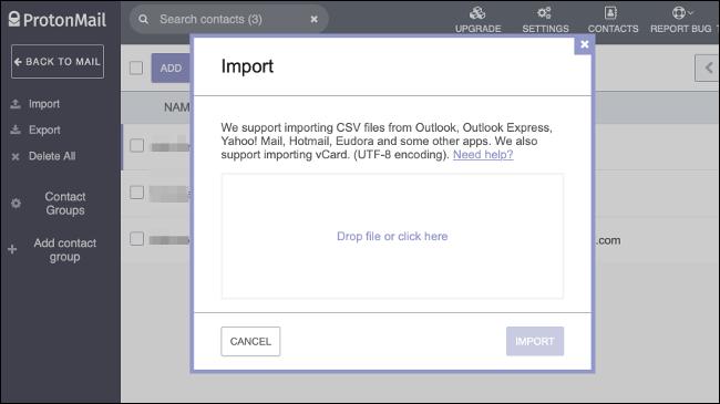 Importar contactos a través de CSV a ProtonMail