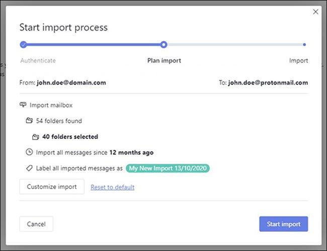 Iniciar proceso de importación en ProtonMail