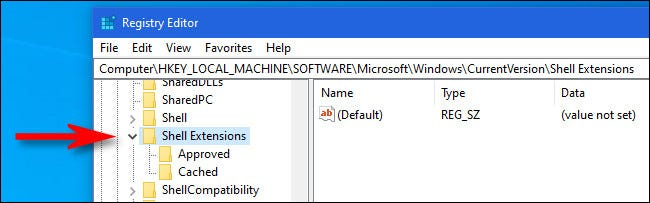 En Regedit, busque la ubicación adecuada usando la barra lateral.