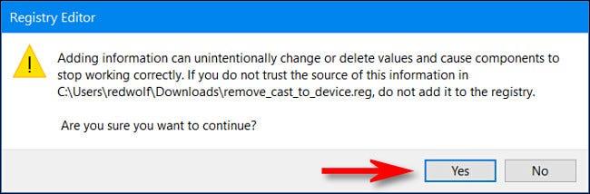 """Cuando se le pregunte si desea modificar el Registro, haga clic en """"Sí"""""""
