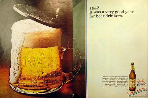 Anuncio de cerveza Schaefer en la revista Ebony