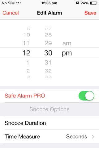 Posponer Safe Alarm PRO