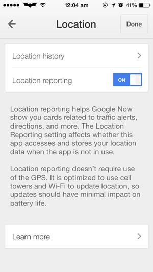 Búsqueda de ubicación de Google desactivada