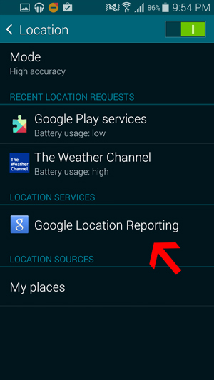 Informes de ubicación de Google