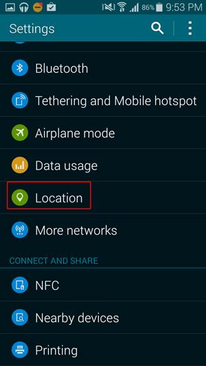 Configuración de ubicación de Google