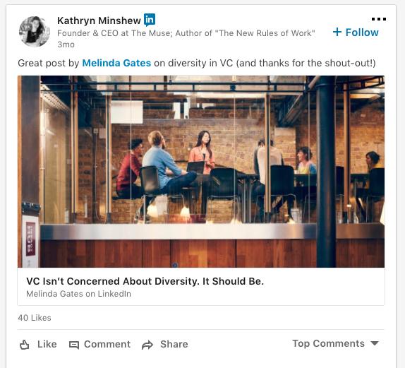captura de pantalla de una publicación de LinkedIn de Kathryn Minshew