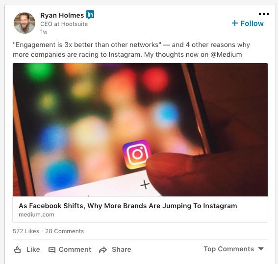 captura de pantalla de una publicación de LinkedIn de Ryan Holmes