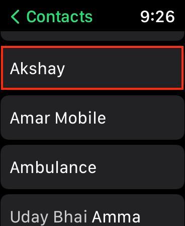 elige el contacto al que deseas llamar