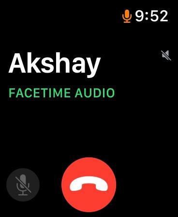 Interfaz de usuario de llamadas de audio FaceTime en Apple Watch