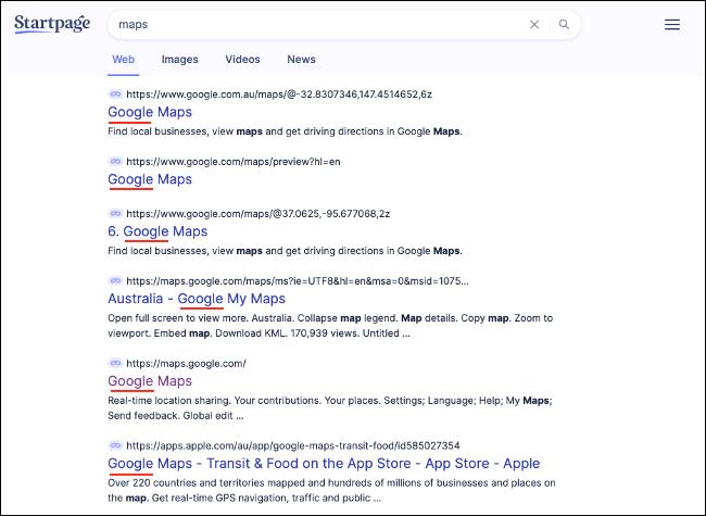 Productos de Google que aparecen en la búsqueda de StartPage