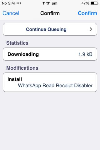Instalación del desactivador de recibos de lectura de WhatsApp