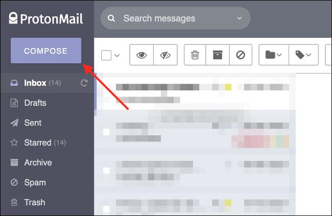 Redactar un nuevo correo electrónico en ProtonMail