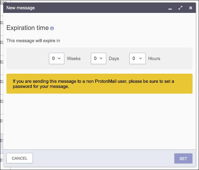 Establecer la fecha de vencimiento del correo electrónico