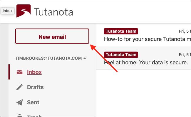 Redactar correo electrónico en Tutanota