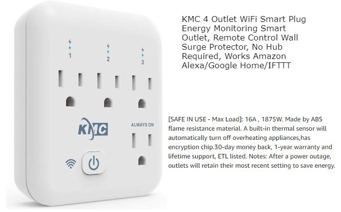 Enchufe inteligente Wifi de cuatro salidas Kmc