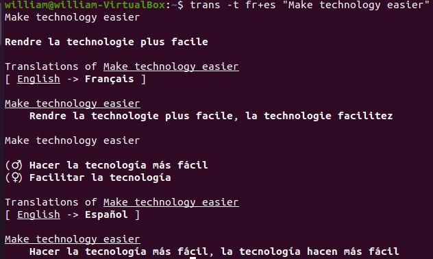 Traducción Traslate Shell Traducir oraciones en varios idiomas