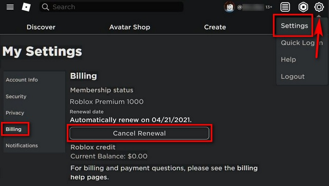 Cómo eliminar la cuenta de Roblox o cancelar la membresía premium