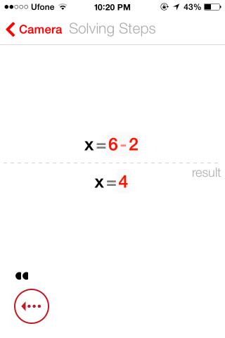 Resultado de PhotoMath Solve
