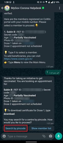 elegir beneficiario y buscar por código PIN
