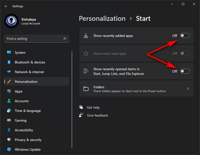 Eliminar la sección recomendada del menú Inicio de Windows 11