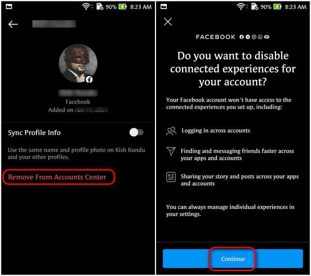 Desvincular Facebook e Instagram usando la aplicación Instagram
