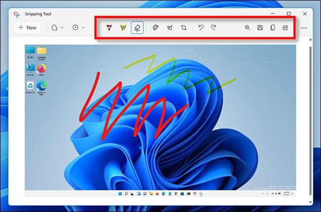 La barra de herramientas Recortes de Windows 11.