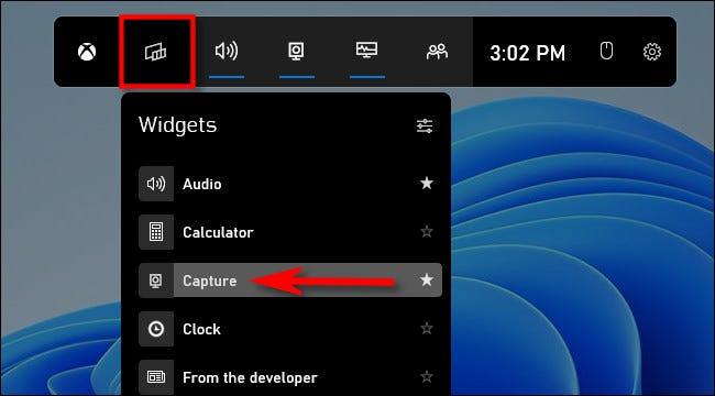 """Haz clic en el botón """"Widgets"""" y luego selecciona """"Capturar""""."""