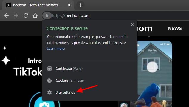 Configuración del sitio de privacidad de Chrome