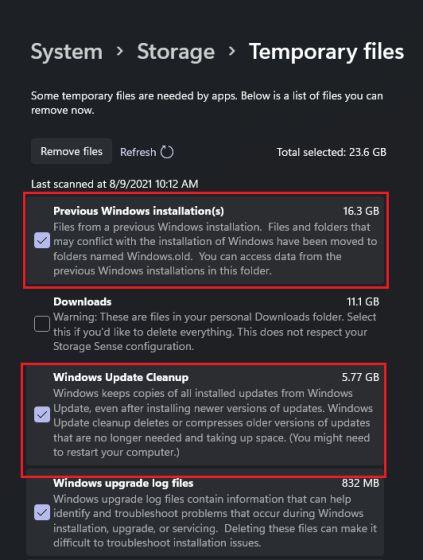 Libere espacio en disco después de actualizar a Windows 11 (2021)
