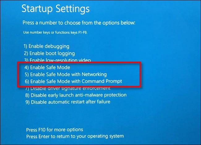"""En la pantalla """"Configuración de inicio"""", presione 4, 5 o 6 en su teclado para el Modo seguro."""