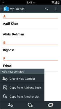 Lista de contactos de ContactBox