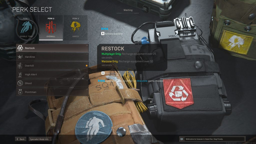 Selección de ventajas de Call of Duty Warzone