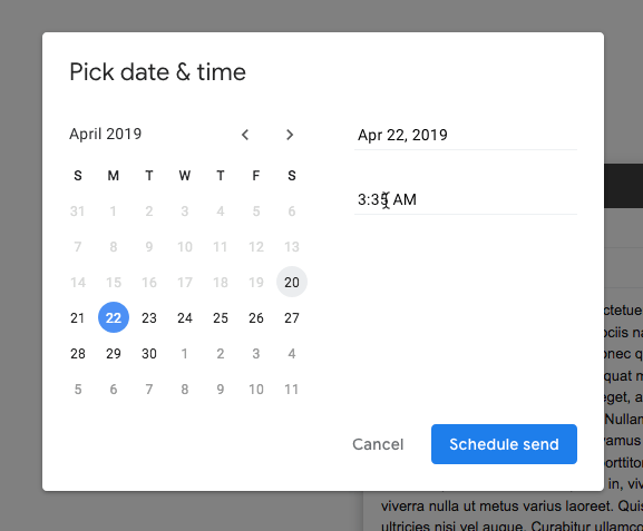 Programar tiempo de programación de correo electrónico de Gmail