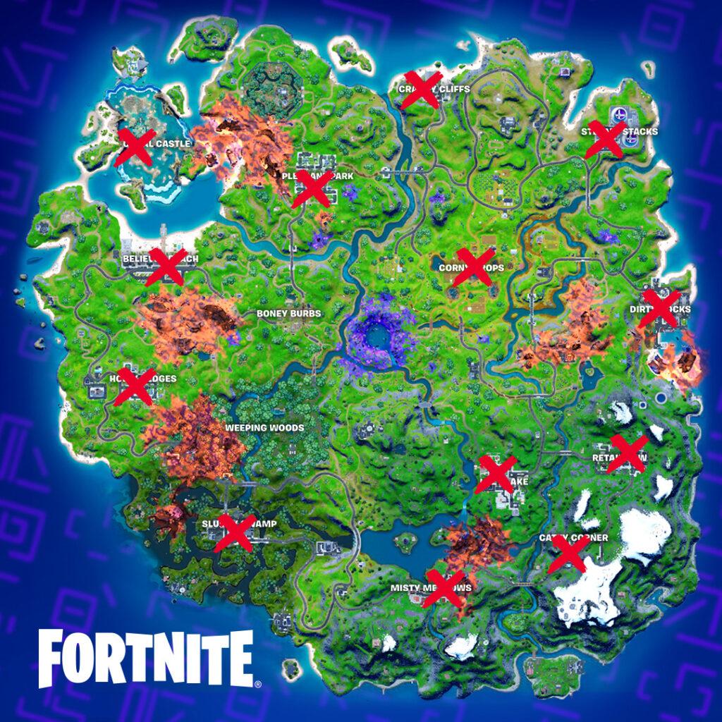 Mapa de ubicaciones de pasteles de Fortnite