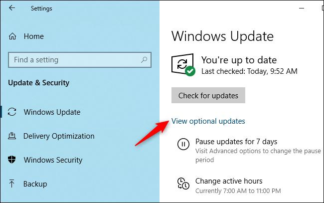 """Haga clic en """"Ver actualizaciones opcionales""""."""