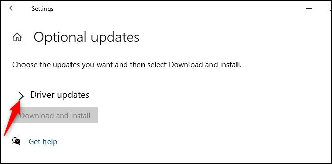 """Expanda la sección """"Actualizaciones de controladores""""."""