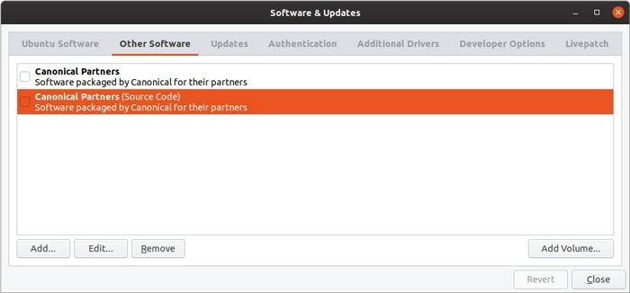 Repositorios predeterminados de gestión de interfaz gráfica de usuario del repositorio de Ubuntu
